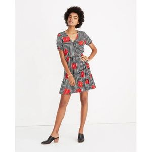 Madewell Ruffle-Wrap Dress Candied Orchids Stripes